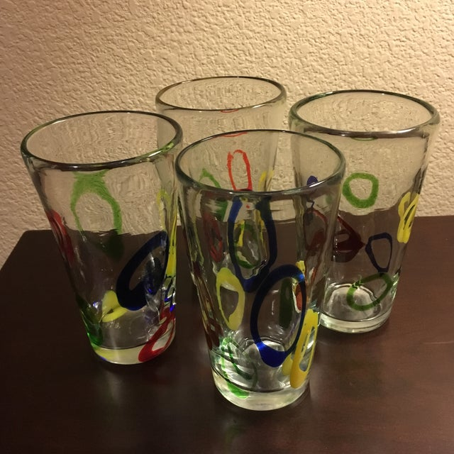 Glass Vintage Handblown Fused Glass Tumblers - Set of 4 For Sale - Image 7 of 11