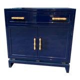 Image of Worlds Away Navy Lacquer Nightstand For Sale