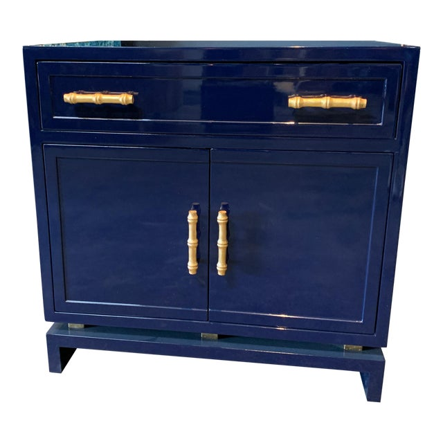 Worlds Away Navy Lacquer Nightstand For Sale