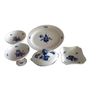 Royal Copenhagen Blue Flower With Braid Serving Pieces - Set of 5 For Sale
