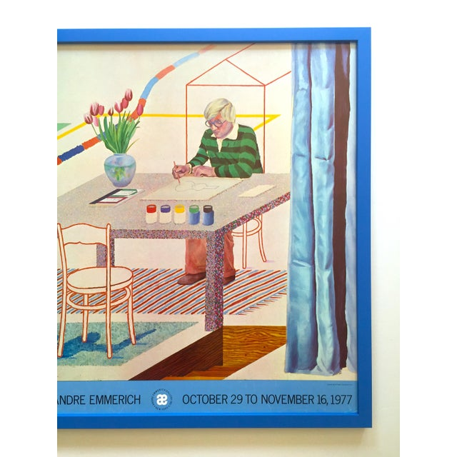 """Contemporary David Hockney Vintage 1977 Lithograph Print Framed Pop Art Exhibition Poster """" Self Portrait With Blue Guitar """" For Sale - Image 3 of 13"""