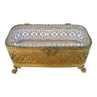 Vintage Ormolu Jewelry Box For Sale