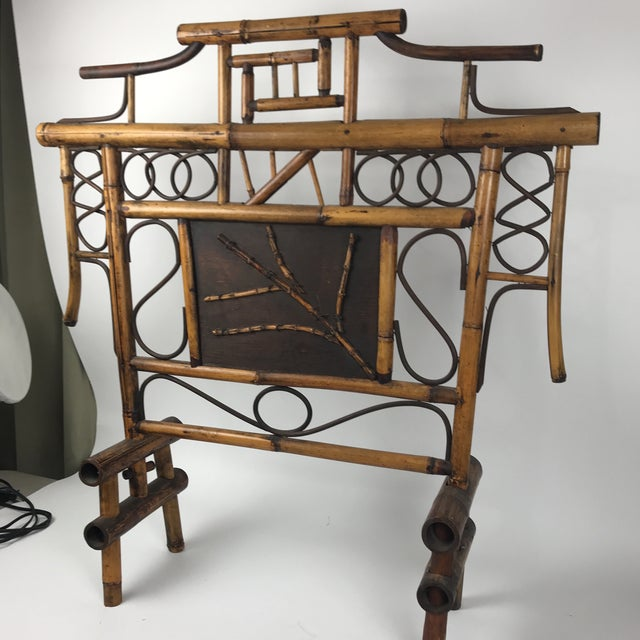 Bamboo Vintage Bamboo Standing Fireplace Screen Table Top Room Screen For Sale - Image 7 of 9