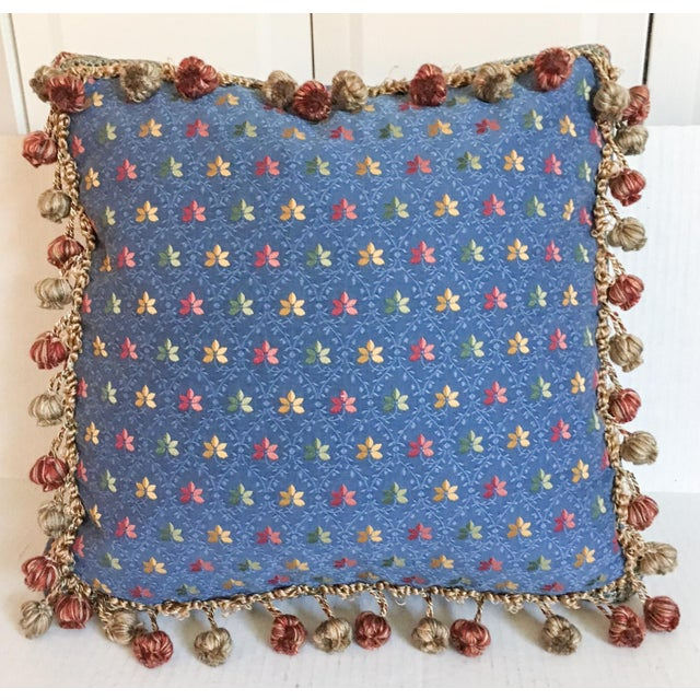 Embroidered Needlepoint Box Pillow with Fringe - Image 2 of 6