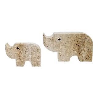 Travertine Rhino Sculptures by Fratelli Mannelli - Italy Italian Figurines Mid Century Modern Rhinoceros Boho Chic Palm Beach Chic - Pair For Sale