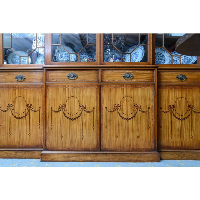 Wood Adams Style Satinwood Bookcase For Sale - Image 7 of 8