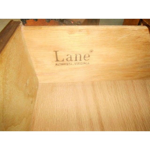 Lane Furniture Burl Maple Triple Dresser & Mirror - Image 6 of 8