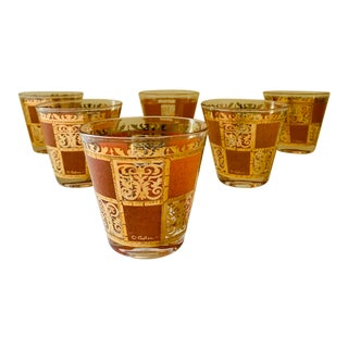 Mid-Century Modern Culver Gold & Orange Highball Low Ball Glasses - Set of 6 For Sale