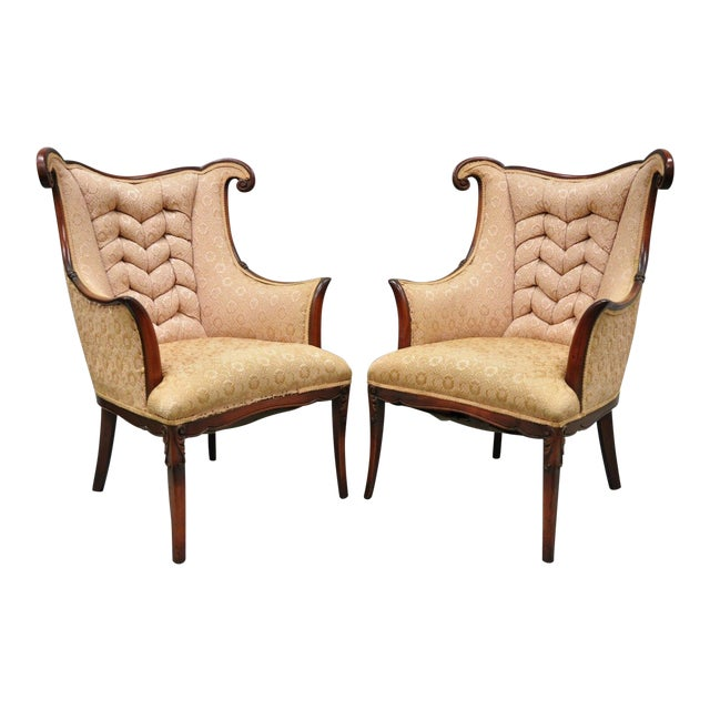 Early 20th Century Vintage Hollywood Regency French Style Mahogany Armchairs- A Pair For Sale