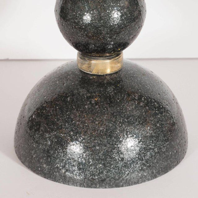 Modernist Handblown Murano Table Lamps in Smoked Gunmetal For Sale - Image 4 of 7