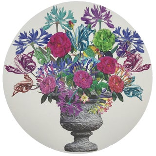 "Nicolette Mayer Pistils Large Bouquet 16"" Round Pebble Placemats, Set of 4 For Sale"