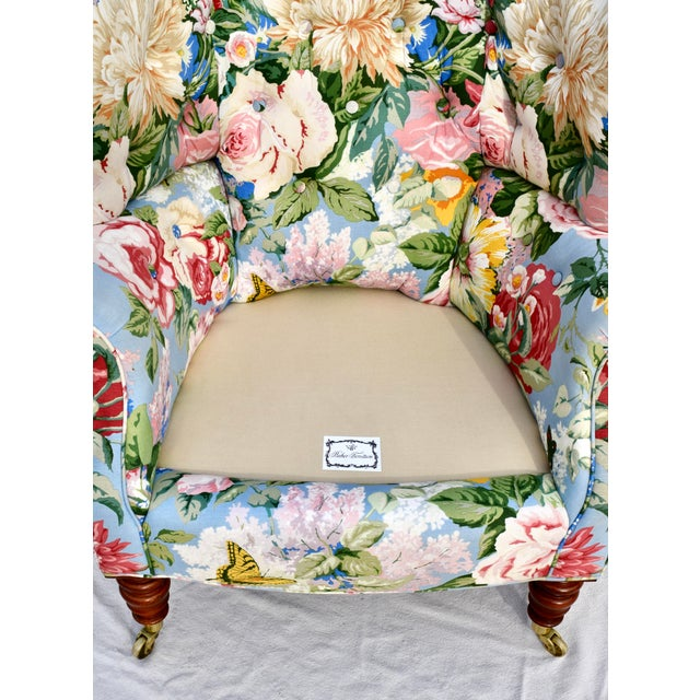 Baker Furniture Floral Tufted Wingback Chair on Brass Casters For Sale - Image 11 of 13
