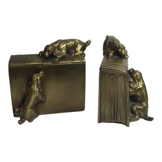 Vintage Gilt Spelter Bookends - a Pair