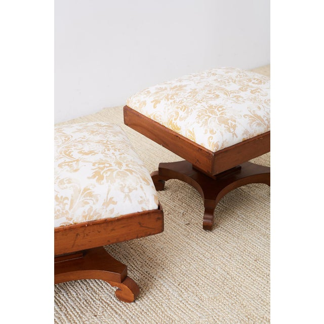 Fortuny Pair of Biedermeier Carved Footstools With Fortuny Upholstery For Sale - Image 4 of 13