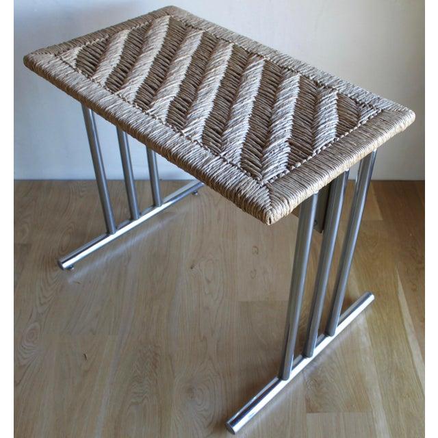 Chromcraft Mid Century Modern Chromcraft Woven Rush Rattan & Chrome Dining Table For Sale - Image 4 of 10
