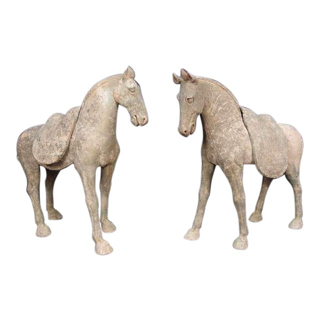 Pair Early Tang Dynasty Grey Pottery Striding Horses with Removable Saddles For Sale
