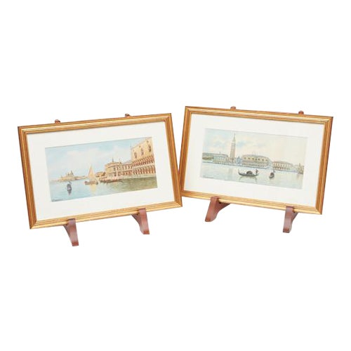 Watercolors of Venice - A Pair For Sale