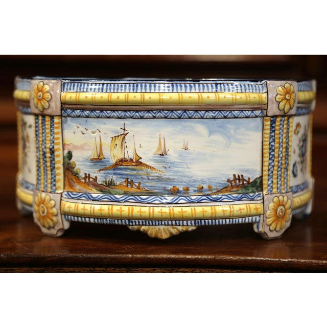 19th Century French Hand-Painted Demilune Jardinière With Sailboats and Flowers For Sale - Image 4 of 9