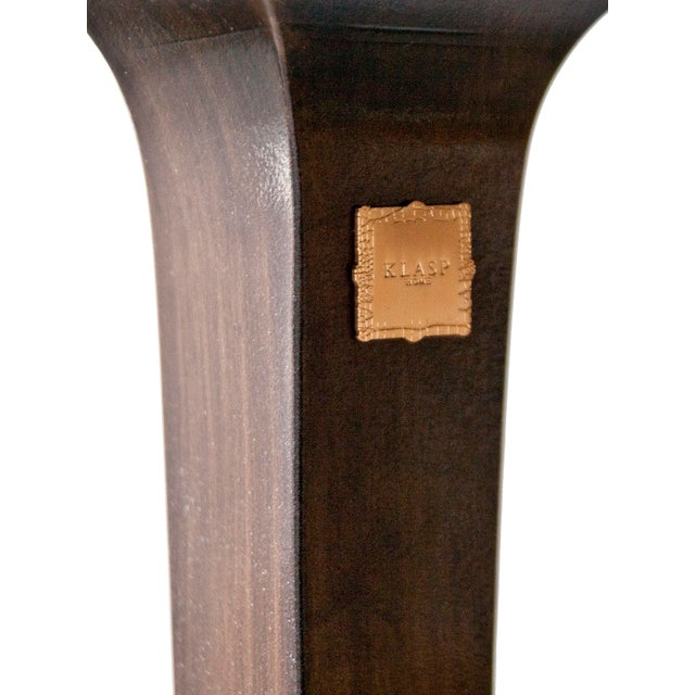 Contemporary Walnut Bench With Laser Cut Cowhide Upholstered Seat For Sale - Image 3 of 7