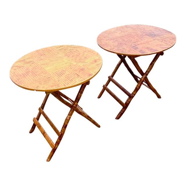 Coastal Split Bamboo Folding Side Tables A Pair Chairish