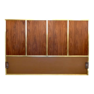 Paul McCobb Irwin Collection Walnut & Brass Headboard For Sale