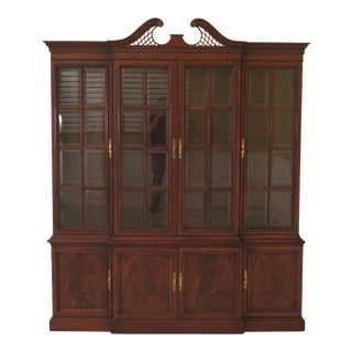 Drexel Beveled Glass 4 Door Mahogany Breakfront For Sale