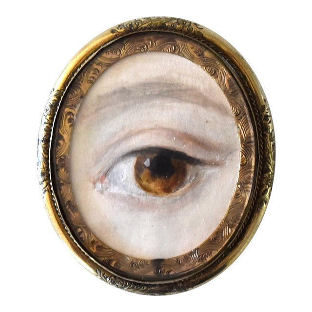 Contemporary Lover's Eye Painting by S. Carson in a Victorian Brooch For Sale