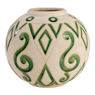 Mid Century Round Incised Art Pottery Vase With Green Glaze For Sale