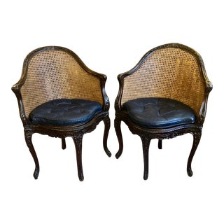 Carved Walnut and Double Caned French Louis XVI Style Chairs -Pair For Sale