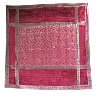 Boho Chic Red Velvet & Gold Lamé Bedcover/Textile Art
