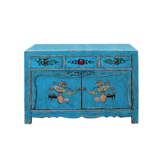 Chinese Distressed Bright Blue Flower Graphic Table Cabinet For Sale