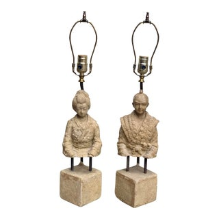 Dynasty Female and Male Figurative Lamps - A Pair For Sale