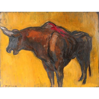 Gerald Wasserman Mexican Bullfight Oil Painting, 1947 For Sale