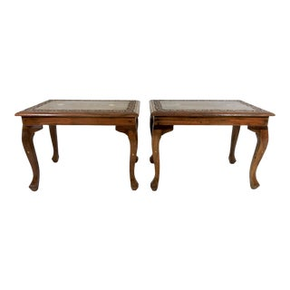 20th Century Asian Teak Side Drinks Tables With Inlaid Brass Tops - a Pair For Sale
