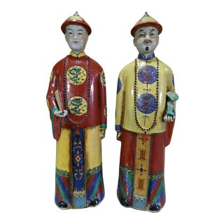 Chinese Ceramic Nobleman Figurines - a Pair For Sale