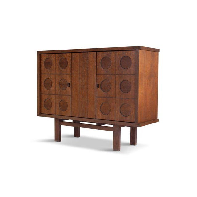 Midcentury Belgian Brutalist Oak Cabinet For Sale - Image 4 of 9