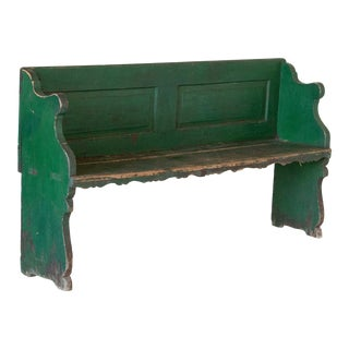 Mid 19th Century Antique Original Green Painted Pine Bench For Sale