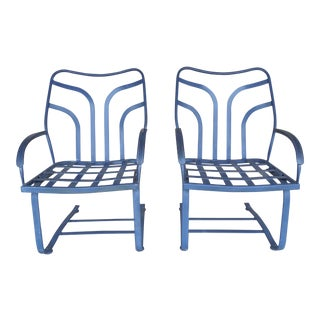 Vintage Woodard Hampton Park Spring Base Pair Lounge Chairs Model #1A053589 For Sale
