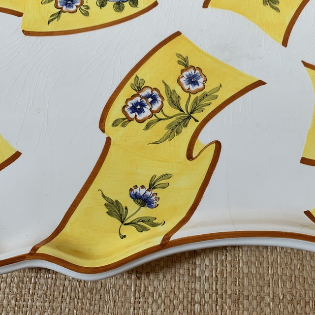 Traditional Tiffany Serving Platter by Este Ceramiche Italy For Sale - Image 3 of 7