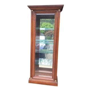 1990s Traditional Hand-Carved Cherrywood Display Cabinet For Sale
