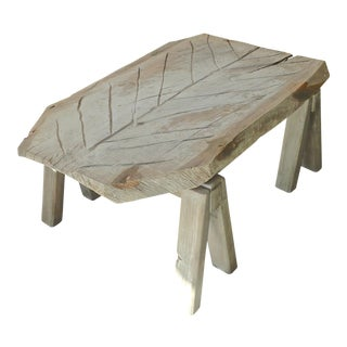 French 19th Century Oak Butcher Block Coffee Table on Two Pine Saw-Horses. For Sale