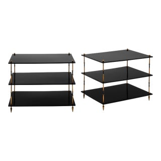 Maison Jansen Black Lacquered Finish and Brass Three Tiered Side Tables - a Pair For Sale