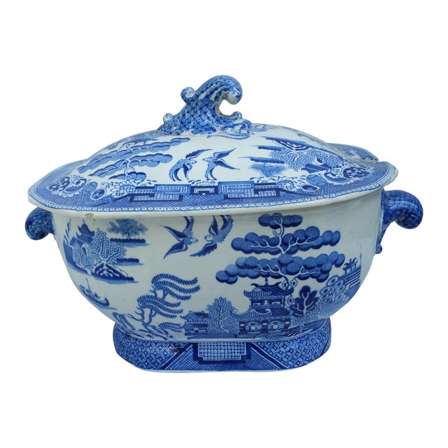 Antique English Victorian Blue & White Soup Tureen - Image 1 of 6