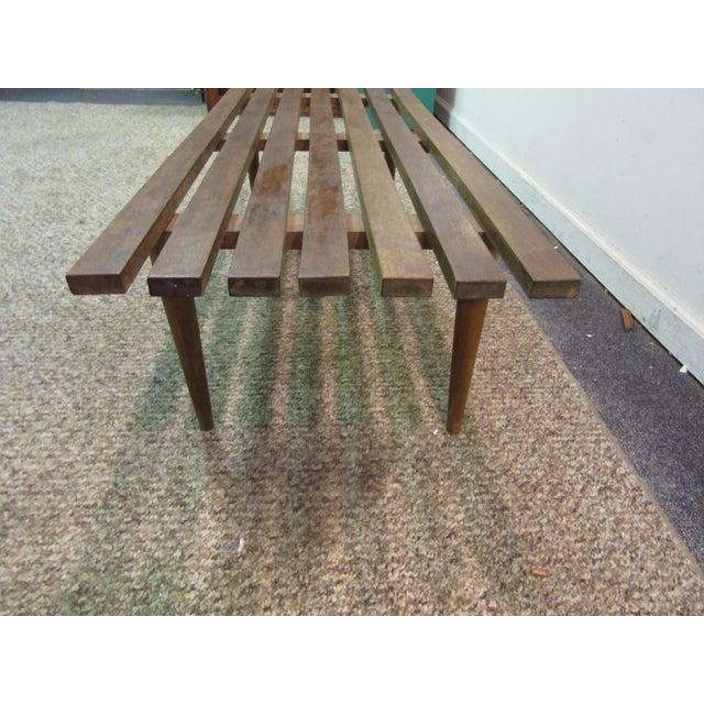 Danish Modern Walnut Slat Bench Coffee Table - Image 9 of 11