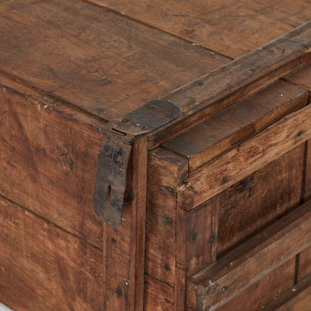 19th Century Rustic Chest as a Coffee Table For Sale - Image 4 of 5