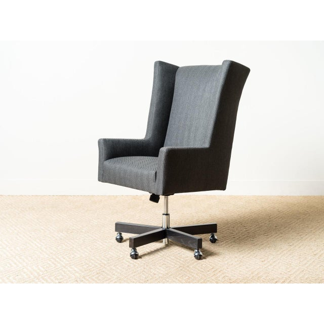 Mid-Century Modern Sydney Black Fabric Office Chair For Sale - Image 6 of 6