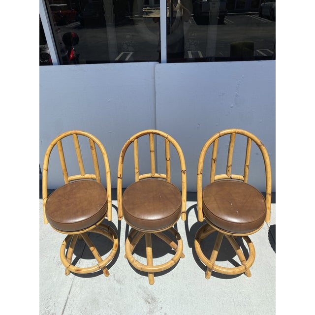 1970s Real Bamboo Counter Stools With Twist Legs Set of Three For Sale - Image 5 of 13