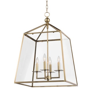Cachet Lantern in Natural Brass For Sale