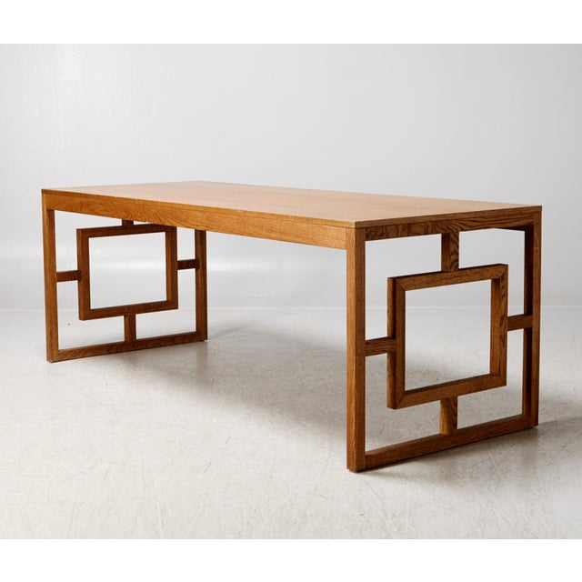 1950s Long Oak Desk Table With Side Geometrical Design For Sale - Image 5 of 5