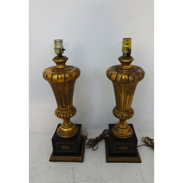 Vintage Gilded Wood Lamps - A Pair For Sale - Image 5 of 7